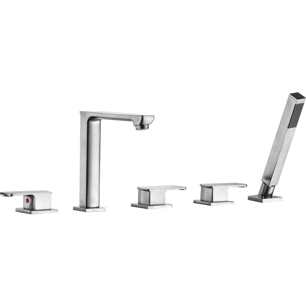 Shore 3-Handle Deck-Mount Roman Tub Faucet with Handheld Sprayer in Brushed