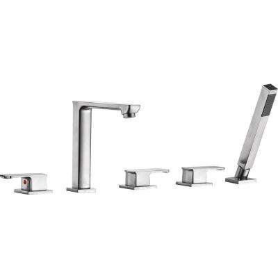 Shore 3-Handle Deck-Mount Roman Tub Faucet with Handheld Sprayer in Brushed Nickel