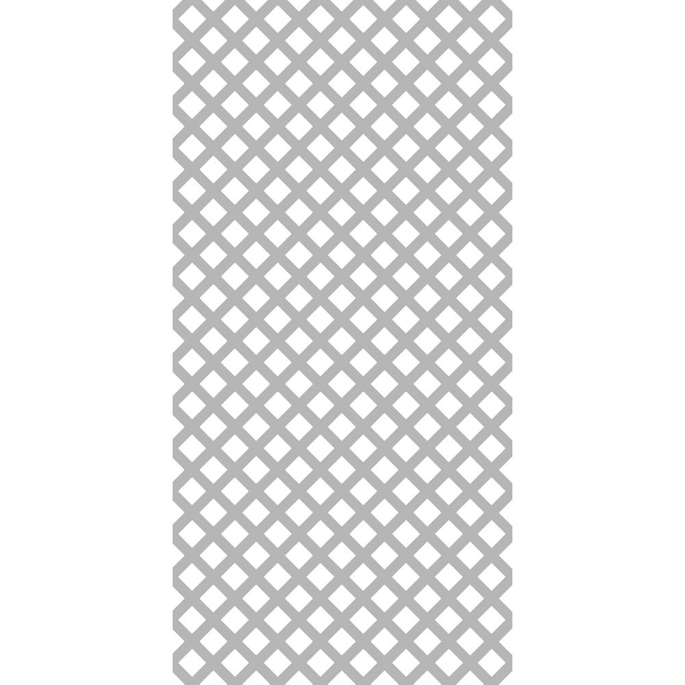 Gridworx 4 ft. x 8 ft. Weathered Gray Traditional Vinyl Lattice (2-Pack)