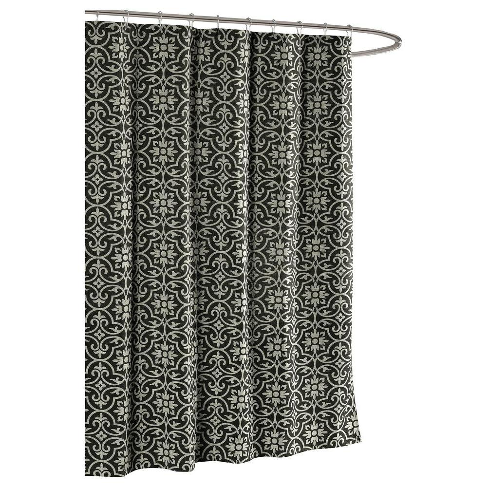 Creative Home Ideas Allure Printed Cotton Blend 72 in. W x 72 in. L Soft Fabric Shower Curtain in Charcoal