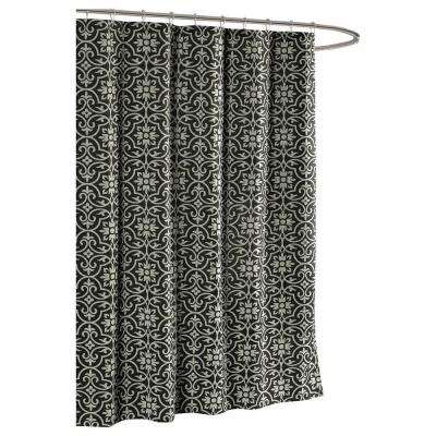 Allure Printed Cotton Blend 72 in. W x 72 in. L Soft Fabric Shower Curtain in Charcoal