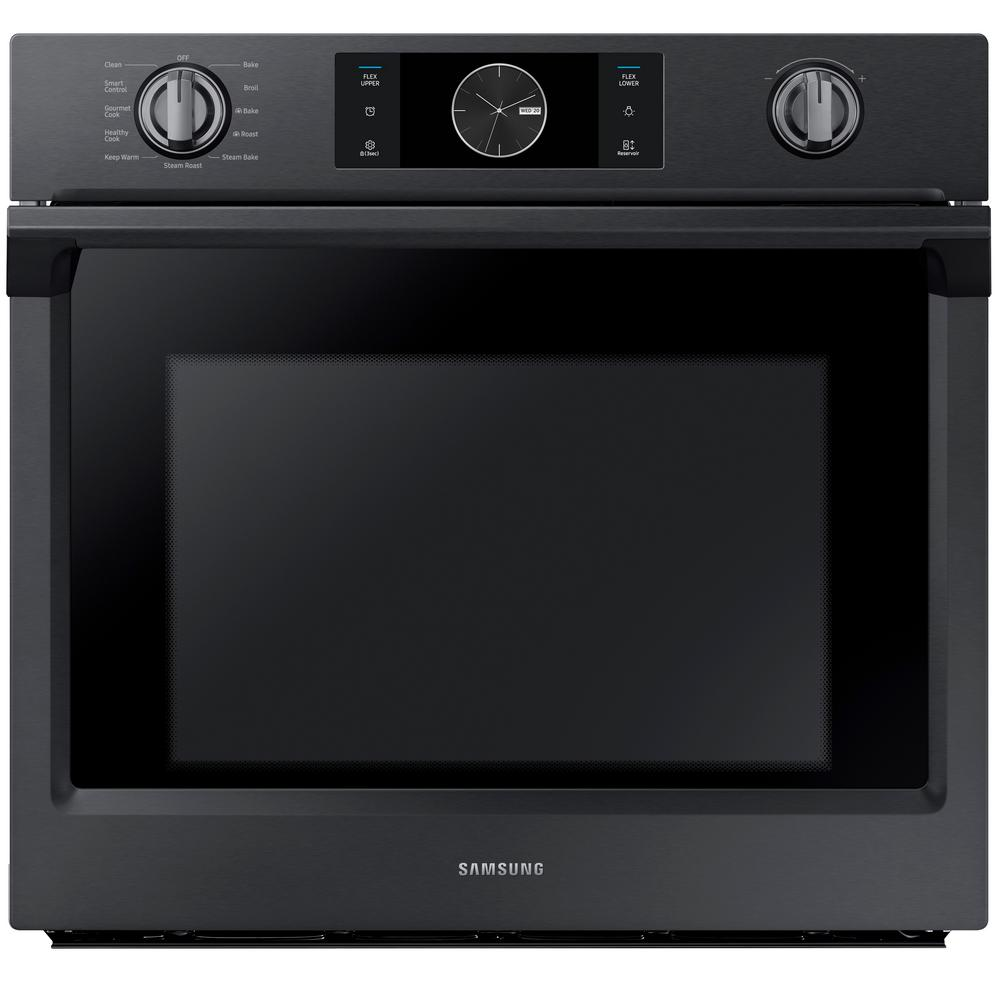 samsung 30 in single electric wall oven self cleaning with steam cooking and dual convection. Black Bedroom Furniture Sets. Home Design Ideas