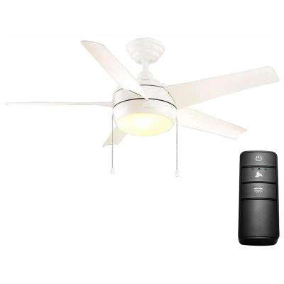 Windward 44 in. LED Matte White Ceiling Fan with Light Kit and Remote Control