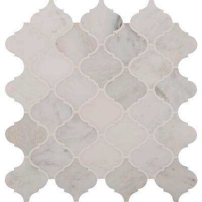 Greecian White Arabesque 12 in. x 12 in. x 10mm Polished Marble Mesh-Mounted Mosaic Floor and Wall Tile (10 sq.ft./case)