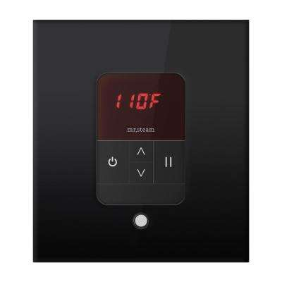 iTempo Square Steam Shower Control in Black with Polished Chrome Bezel