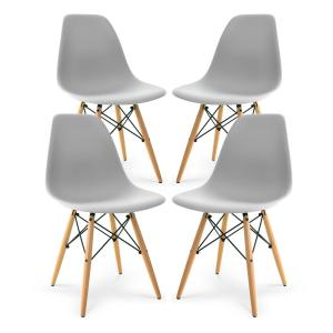Vortex Harbor Grey Side Chair with Walnut Legs (Set of 4)