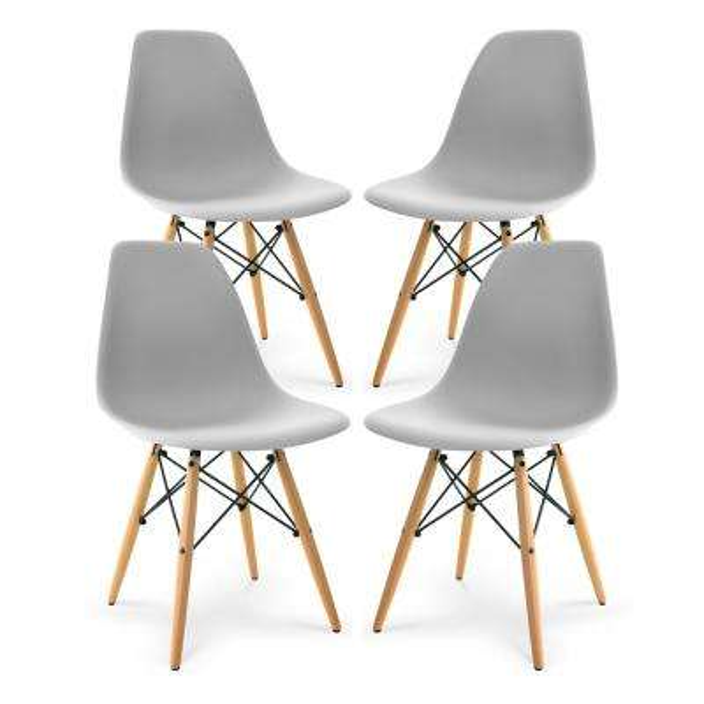 Vortex Harbor Grey Side Chair with Walnut Legs (Set of 4)