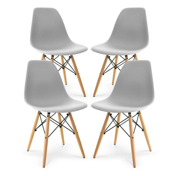 Poly and Bark Vortex Harbor Grey Side Chair with Walnut Legs (Set of 4)