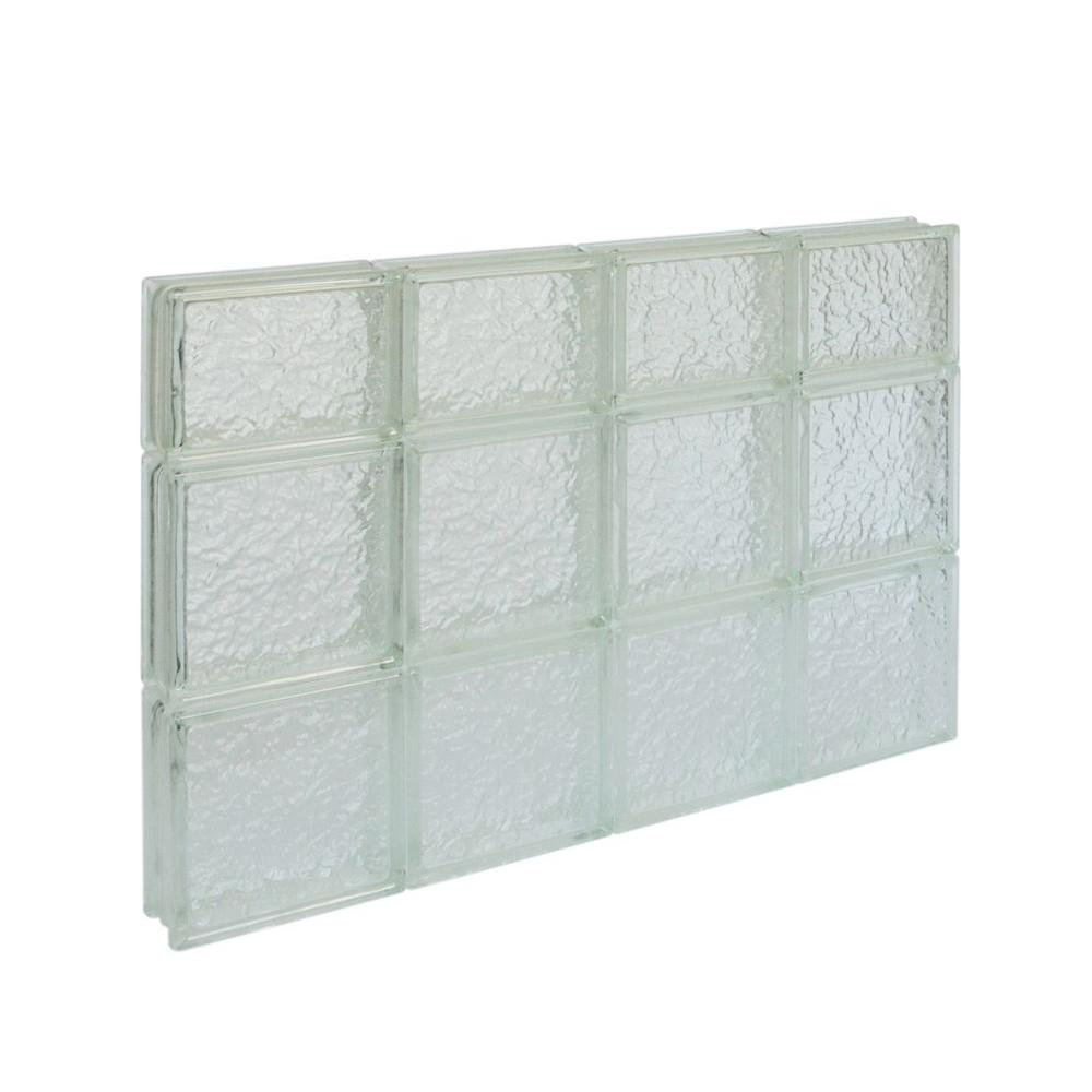 Pittsburgh Corning 31 in. x 21.5 in. x 3 in. IceScapes Pattern Solid Glass Block Window