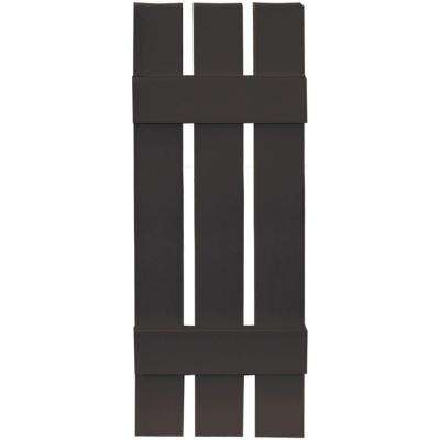 12 in. x 35 in. Board-N-Batten Shutters Pair, 3 Boards Spaced #010 Musket Brown
