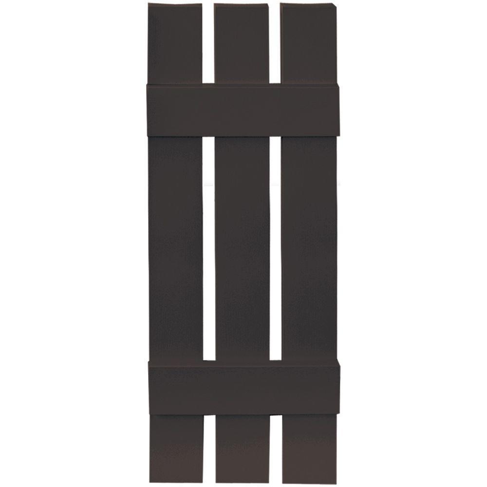 Builders Edge 12 in. x 35 in. Board-N-Batten Shutters Pair, 3 Boards Spaced #010 Musket Brown