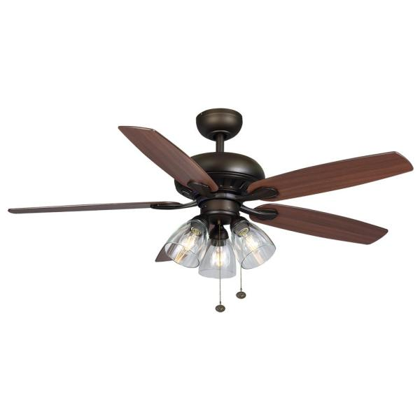 Rockport 52 in. Bronze LED Ceiling Fan with Light kit