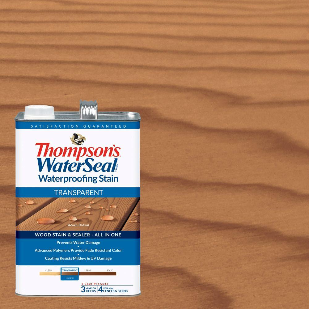 Thompson's WaterSeal 1 gal. Transparent Acorn Brown Waterproofing Stain Exterior Wood