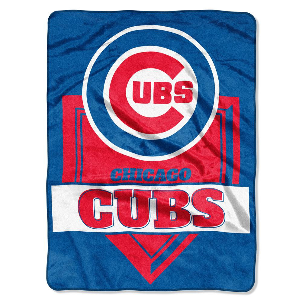 Cubs Multi-Color Polyester Home Plate Raschel Blanket