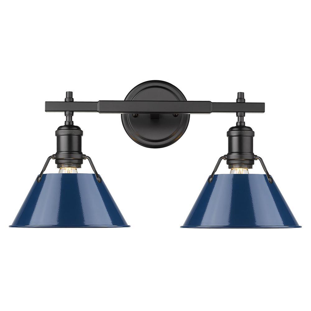 Golden Lighting Orwell 4 875 In 2 Light Black Vanity Light With Matte Navy Shade 3306 Ba2 Blk Nvy The Home Depot