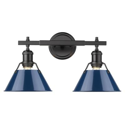 Orwell 4.875 in. 2-Light Black Vanity Light with Matte Navy Shade