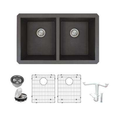 Radius All-in-One Undermount Granite 32 in. Equal Double Bowl Kitchen Sink in Black
