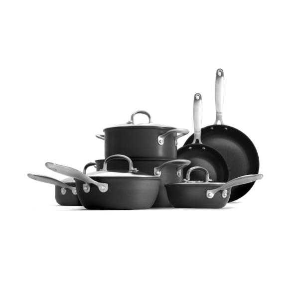 Good Grips 12-Piece Hard-Anodized Aluminum Ceramic Nonstick Cookware Set in Black