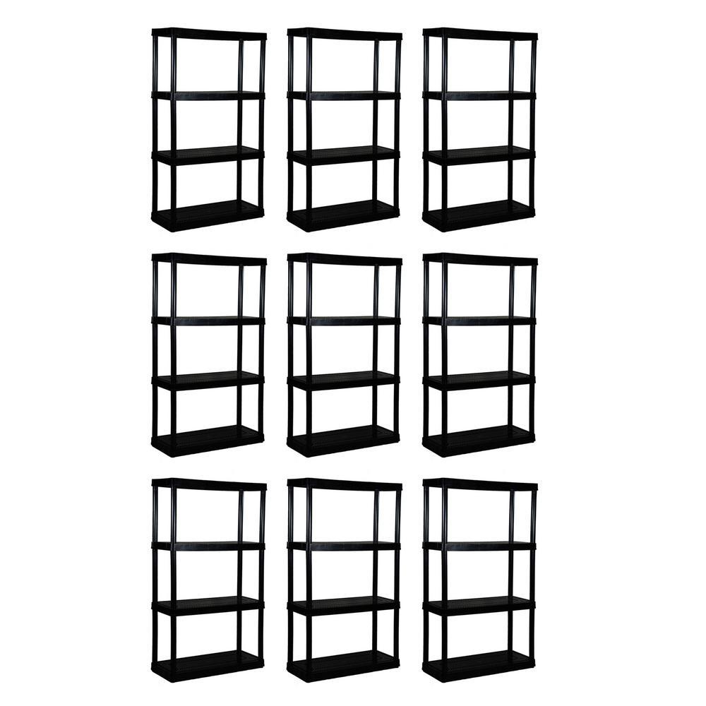 9-Pack Black 4-Tier Plastic Garage Storage Shelving Unit (32 in. W x 55 in. H x 14 in. D)
