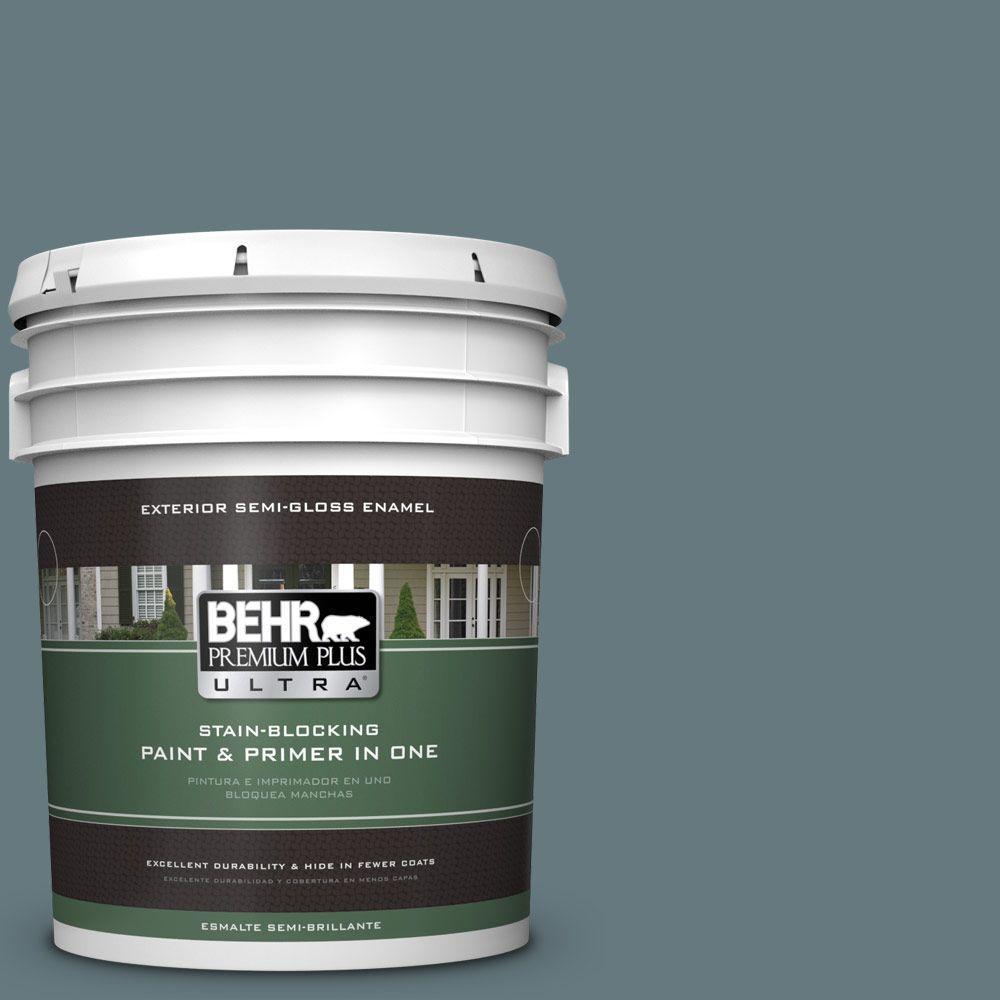 BEHR Premium Plus Ultra 5-gal. #BXC-81 Crater Lake Semi-Gloss Enamel Exterior Paint