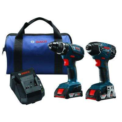 18 Volt Lithium-Ion Cordless Combo Kit with 1/2 in. Drill/Driver and 1/4 in. Hex Impact Driver (2-Tool)