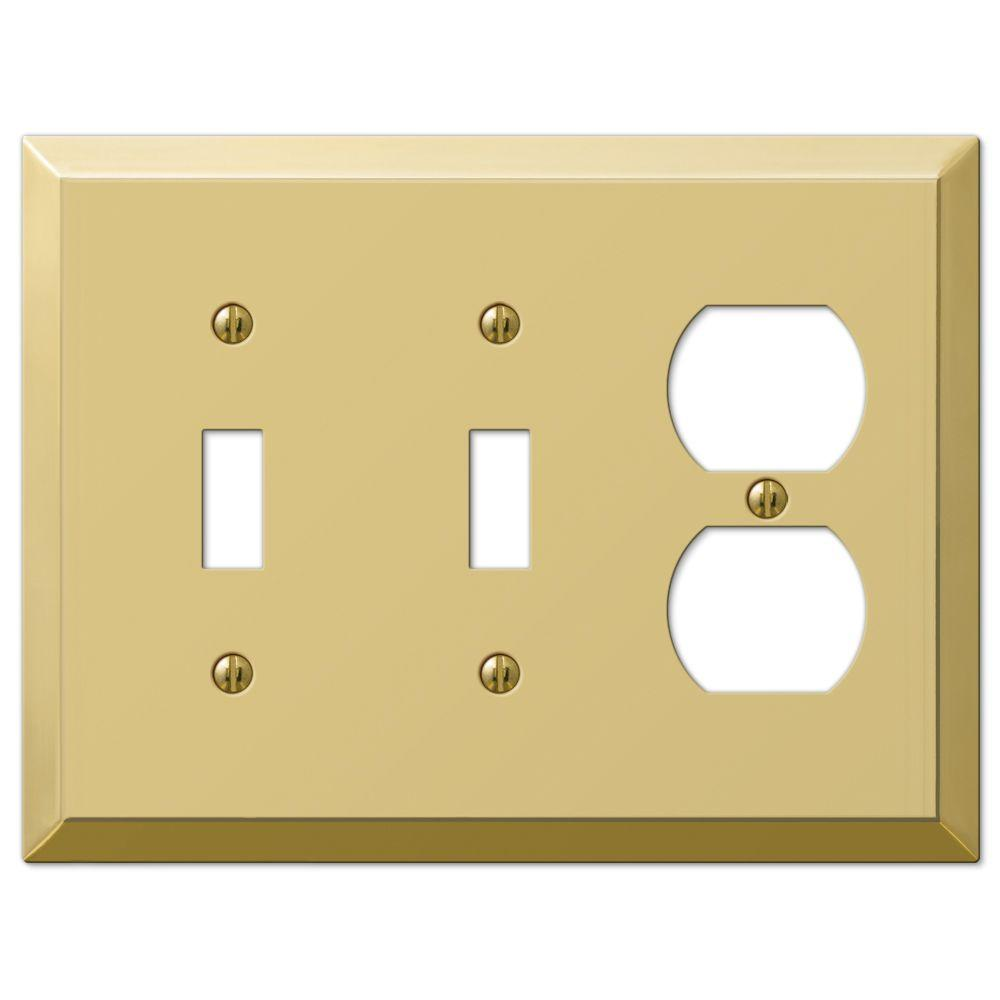 Hampton Bay Century 2 Toggle 1 Duplex Wall Plate - Polished Brass ...