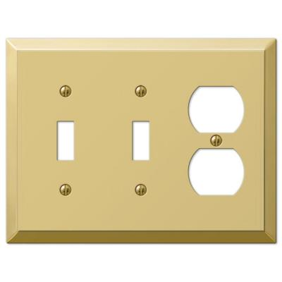 Metallic 3 Gang 2-Toggle and 1-Duplex Steel Wall Plate - Polished Brass