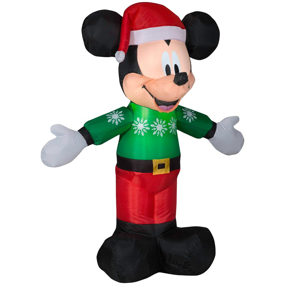 3.51 ft. Pre-lit Inflatable Mickey in Green Sweater Airblown
