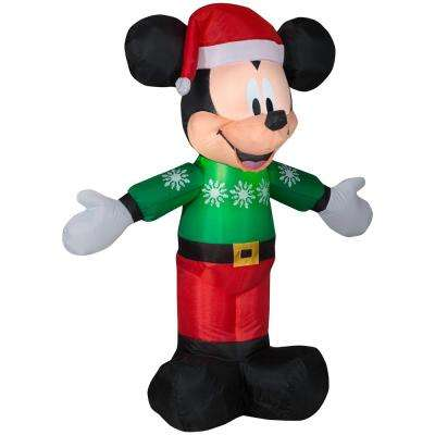 pre lit inflatable mickey in green sweater airblown - Home Depot Inflatable Christmas Decorations