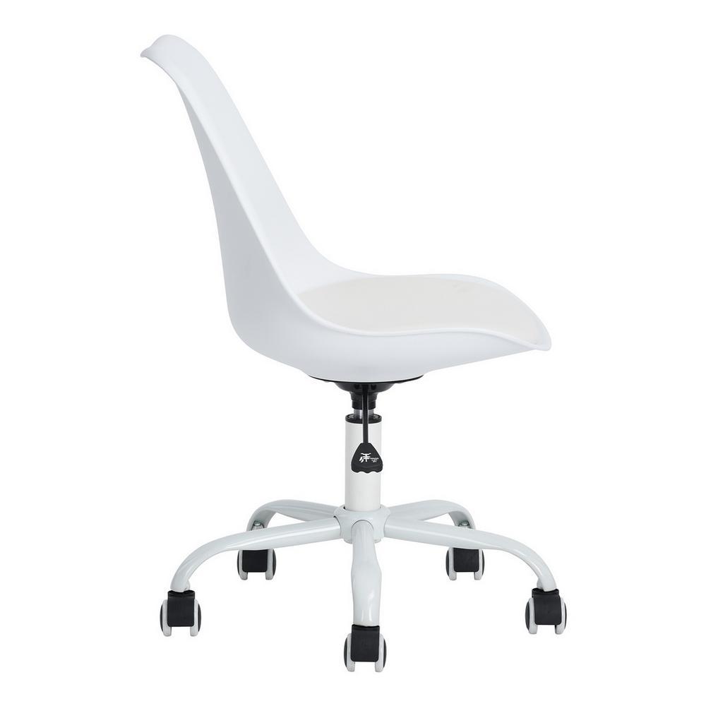 Swivel PU Leather Cushioned Armchair Office Desk Chair Chrome Legs Gas Lift