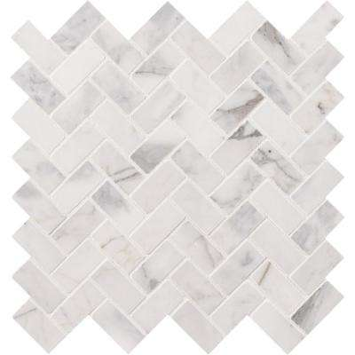 Calacatta Cressa Herringbone 12 in. x 12 in. x 10 mm Honed Marble Mesh-Mounted Mosaic Tile (9.4 sq. ft. / case)