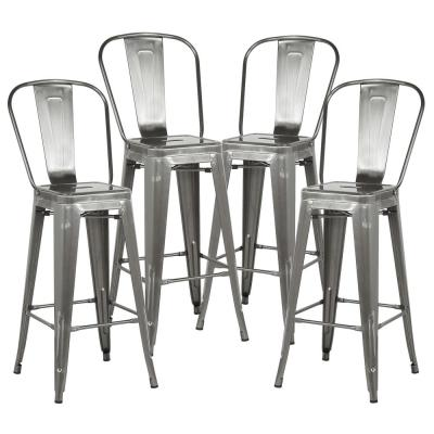 Trattoria 30 in. High Back Bar Stool in Polished Gunmetal (Set of 4)