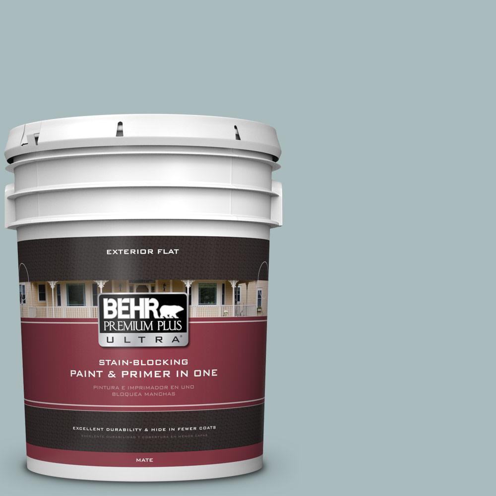BEHR Premium Plus Ultra 5 gal. #MQ6-4 Gray Wool Flat Exterior Paint and Primer in One