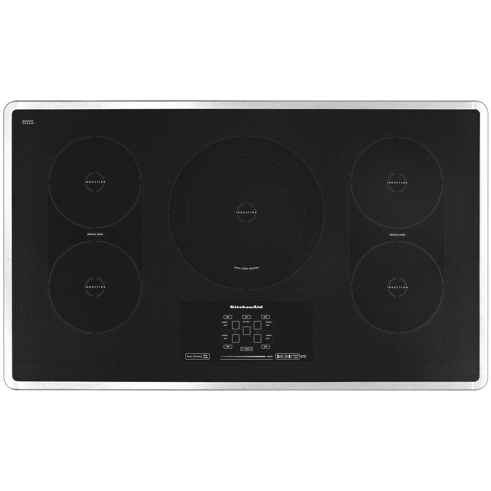 KitchenAid Architect Series II 36 in. Smooth Surface Induction Cooktop in Stainless Steel with 5 Elements including Bridge/Dual