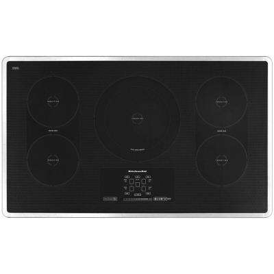 Architect Series II 36 in. Smooth Surface Induction Cooktop in Stainless Steel with 5 Elements including Bridge/Dual