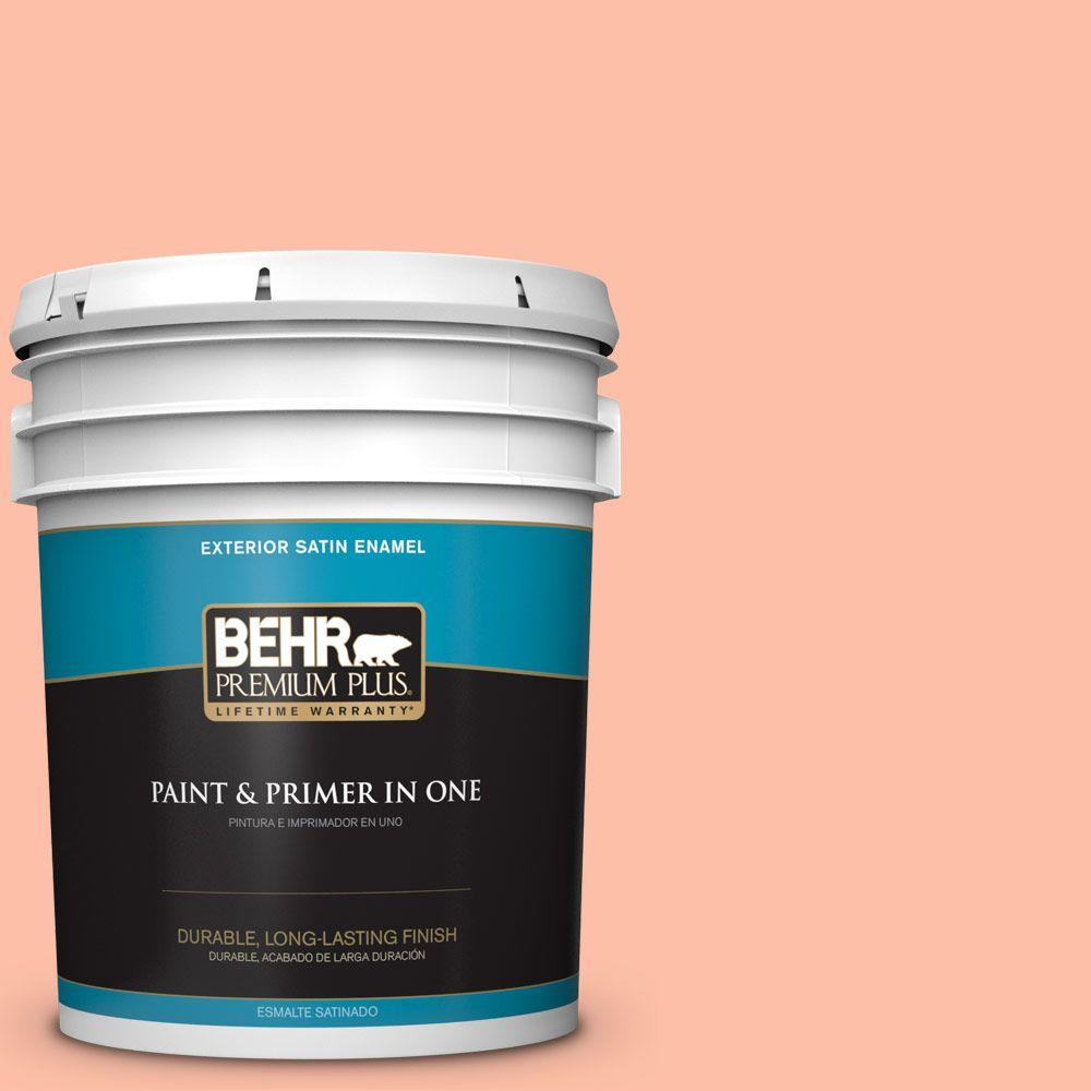 BEHR Premium Plus 5-gal. #220A-3 Sweet Apricot Satin Enamel Exterior Paint, Oranges/Peaches