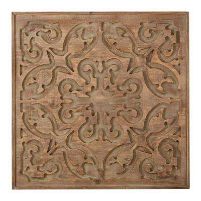 "24 in. x 24 in. ""Bazaar Dark Laser Cut"" Wood Wall Art"