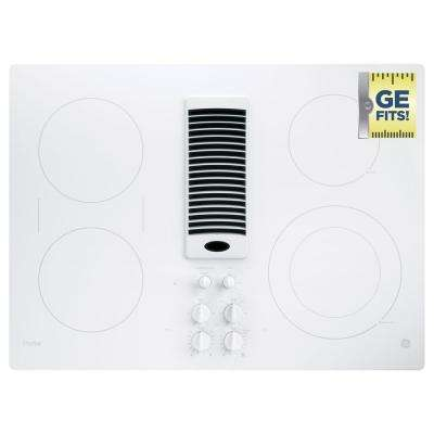 30 in. Radiant Electric Downdraft Cooktop in White with 4 Elements including Power Boil