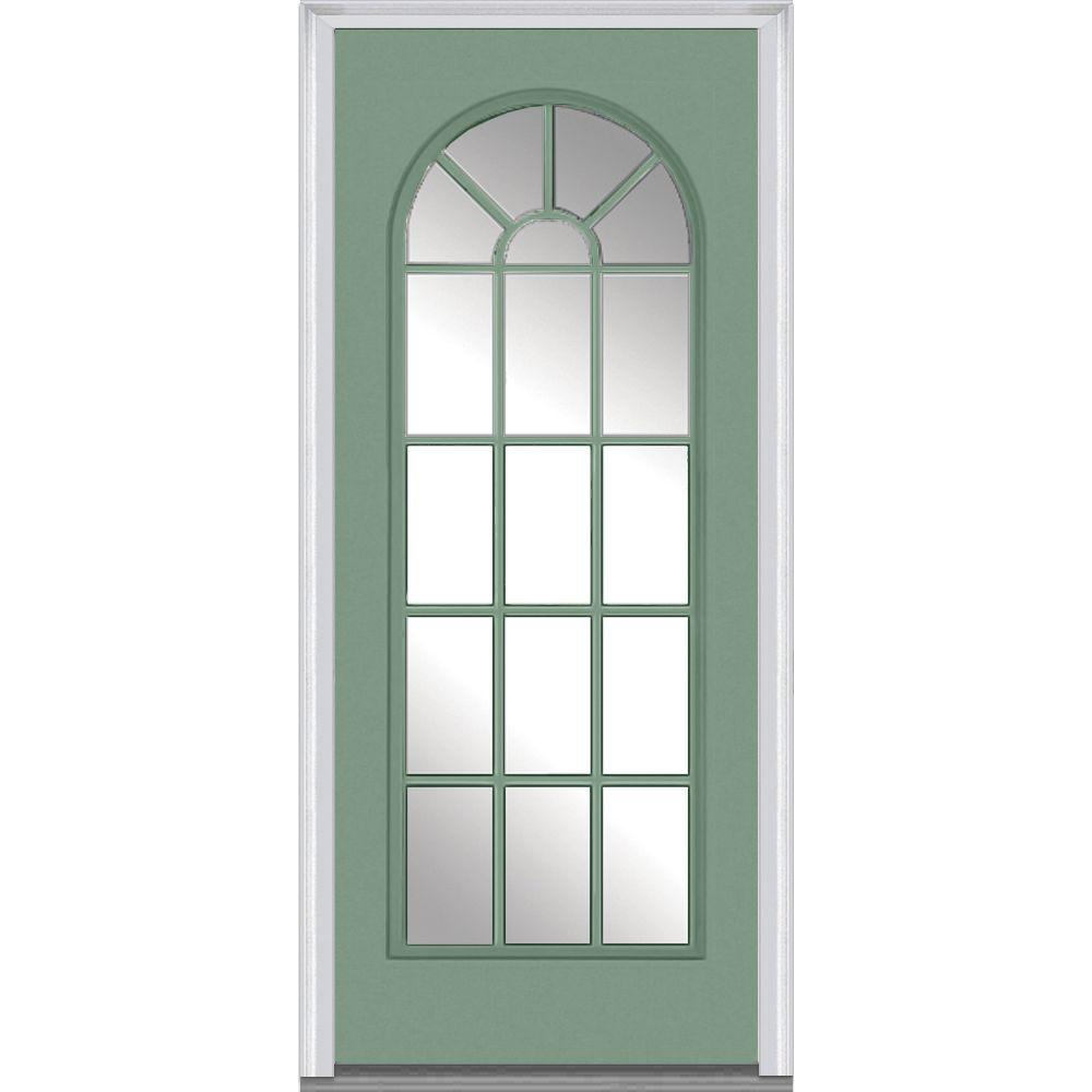 36 in. x 80 in. Clear Glass Left-Hand Full Lite Round