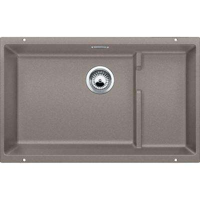 Precis Cascade Undermount Granite Composite 29 in. Single Bowl Kitchen Sink in Truffle
