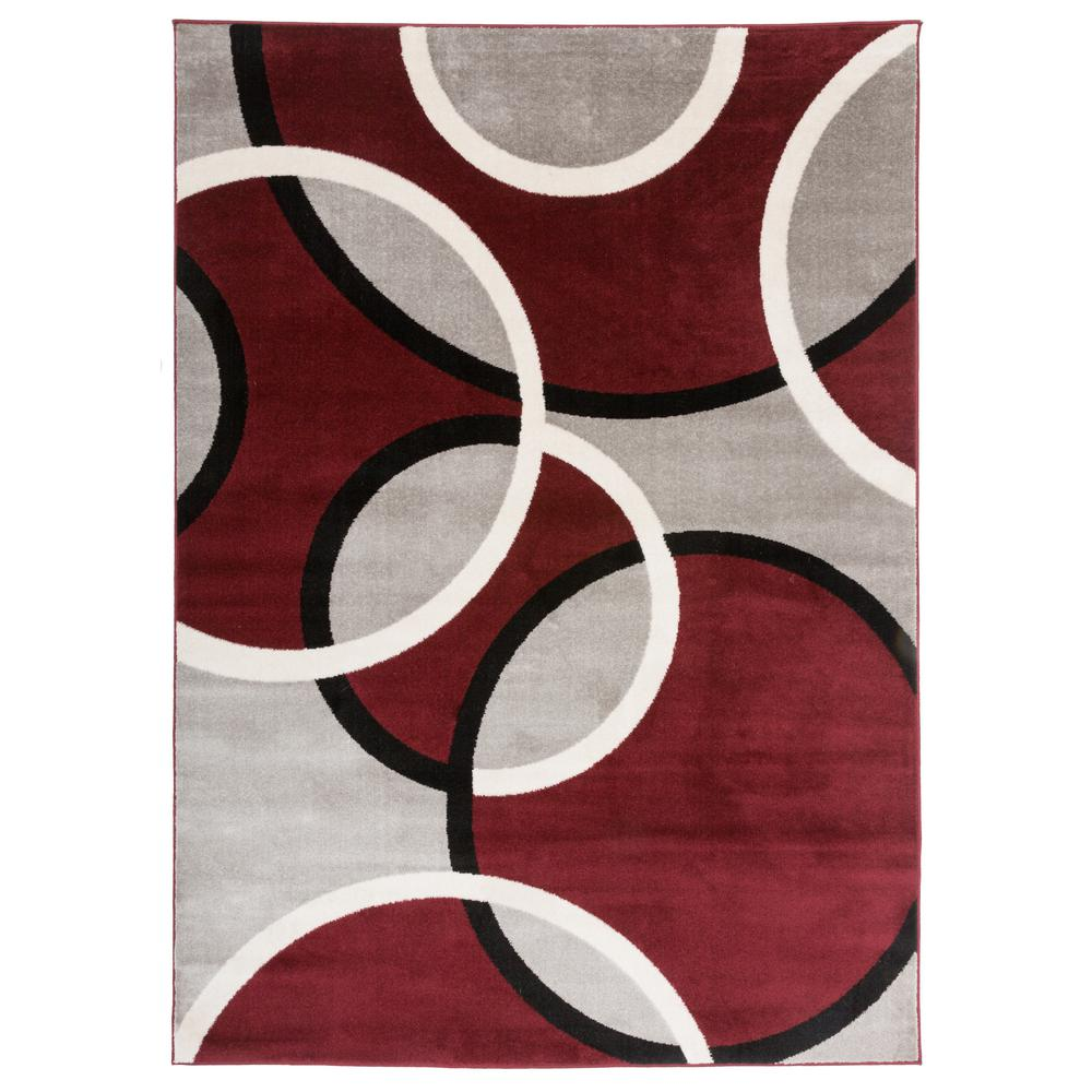 World Rug Gallery Modern Abstract Circles Red 3 Ft 3 In