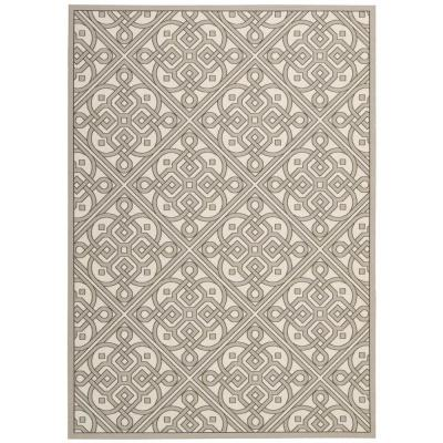 Lace It Up Stone 5 ft. x 7 ft. Geometric Modern Indoor/Outdoor Area Rug