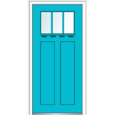36 in. x 80 in. Left-Hand Inswing 3-Lite Clear 2-Panel Shaker Painted Fiberglass Smooth Prehung Front Door with Shelf