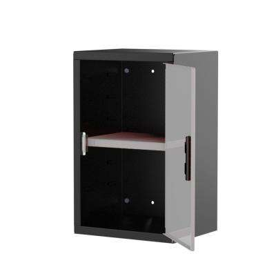 Pre Assembled 24 in. H x 15 in. W x 12 in. D Steel Wall Cabinet in Black/Silver