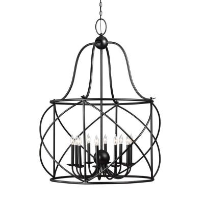 Turbinio 37 in. W x 46.75 in. H 10-Light Textured Black Hall/Foyer Extra Large Rustic Cage Metal Indoor Pendant