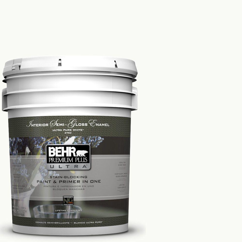 5 gal. #PR-W15 Ultra Pure White Semi-Gloss Enamel Interior Paint and