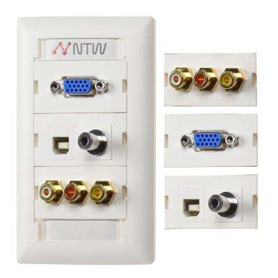 Unimedia Customizable VGA 3.5 mm Audio, USB A/B, Composite Video RCA Stereo Audio, Wall Plate and ID Tag, White