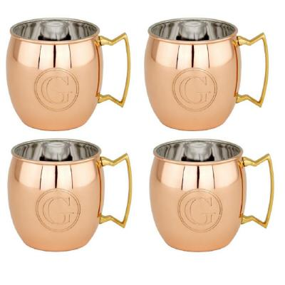 16 oz. Solid Copper Moscow Mule Mugs and Monogram G (Set of 4)