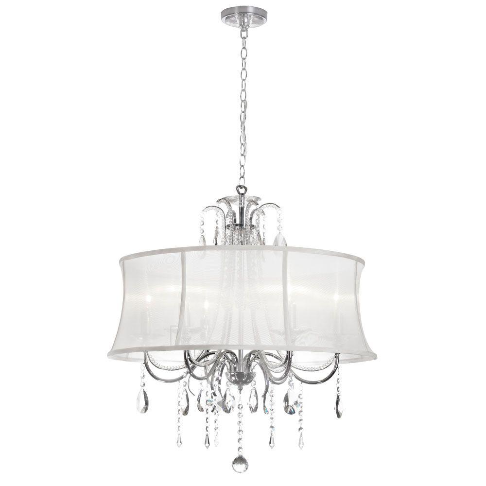 Radionic Hi Tech Ella 6-Light Polished Chrome Crystal Chandelier with White Organza Bell Shade