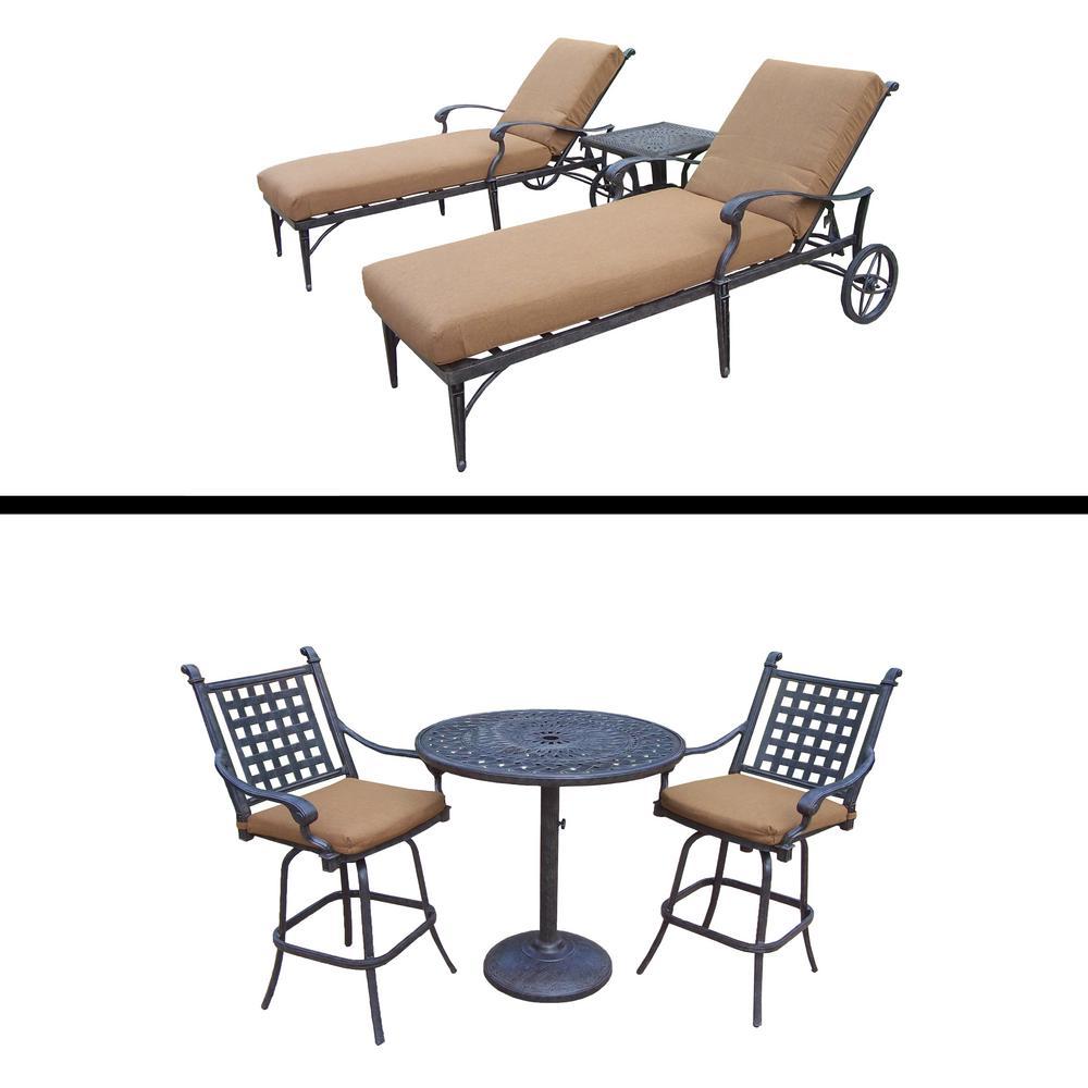 Belmont Premier 6-Piece Aluminum Outdoor Bar Height Dining Set with Sunbrella Brown Cushions